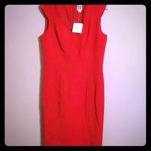 Structured poppy red Ann Klein dress NWT